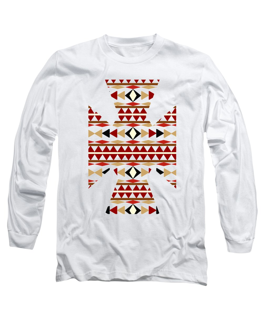 Navajo White Long Sleeve T-Shirt featuring the mixed media Navajo White Pattern Art by Christina Rollo