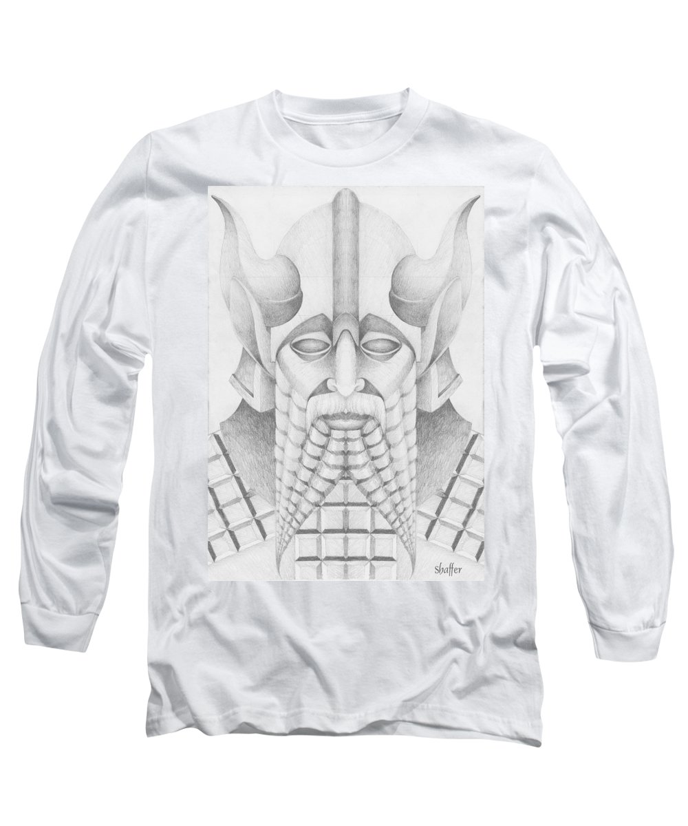 Babylonian Long Sleeve T-Shirt featuring the drawing Nebuchadezzar by Curtiss Shaffer