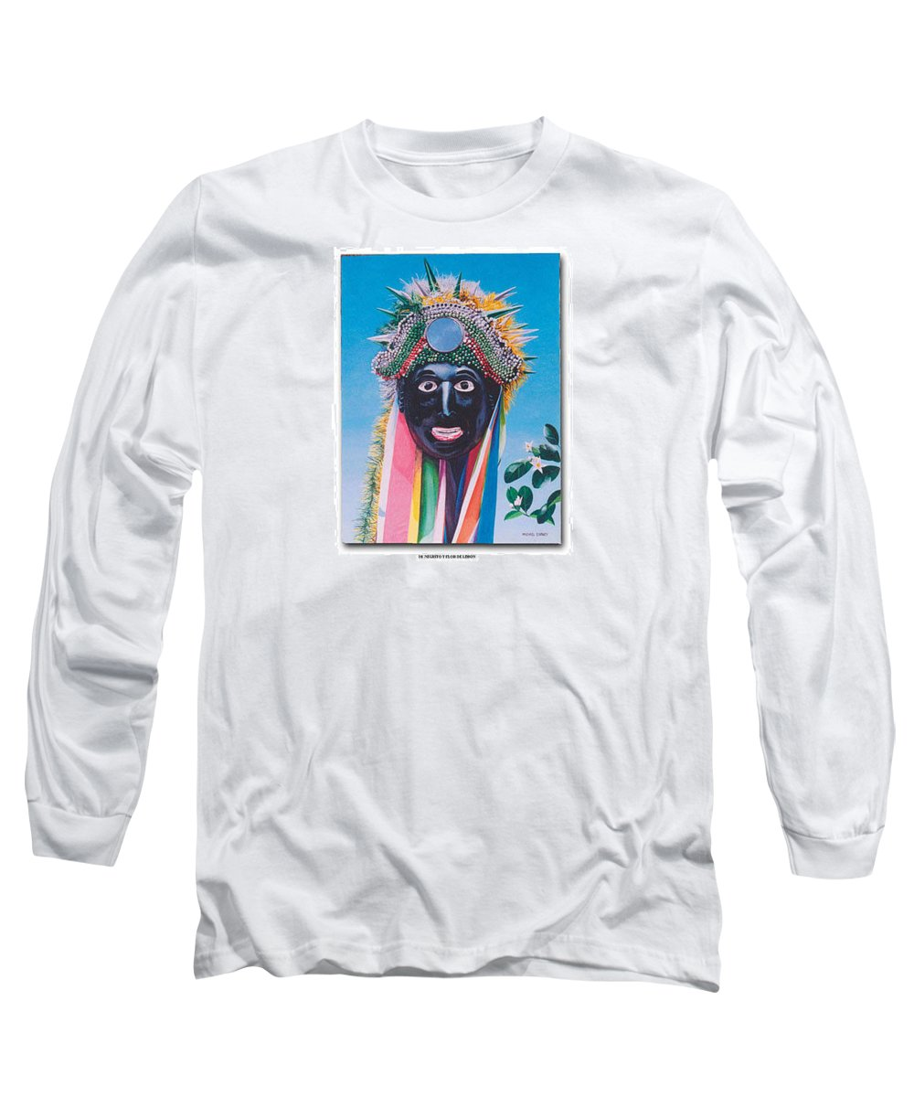 Michael Earney Long Sleeve T-Shirt featuring the painting Negrito Y Flor De Limon by Michael Earney
