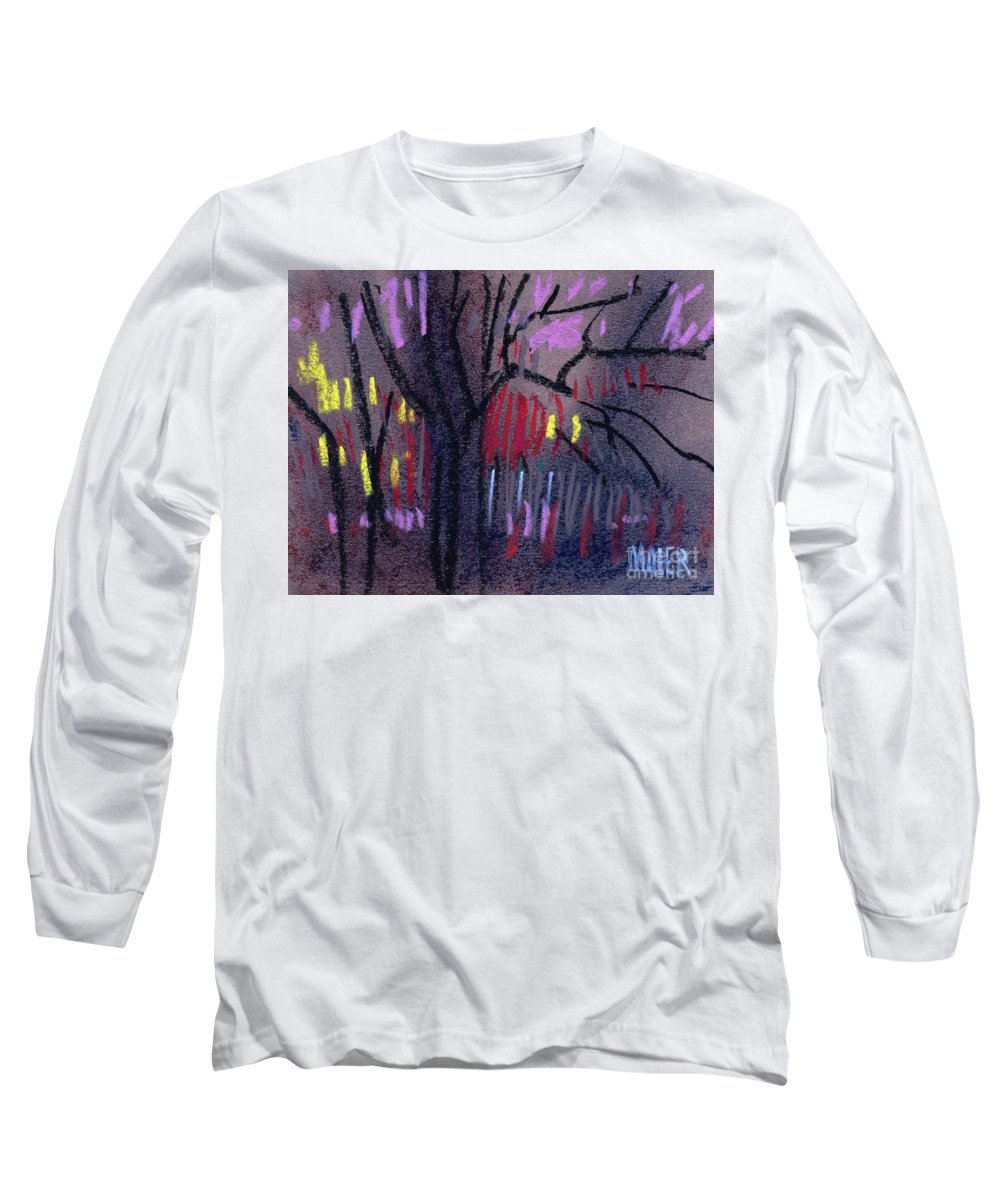Abstract Long Sleeve T-Shirt featuring the drawing Neighbor's Lights by Donald Maier