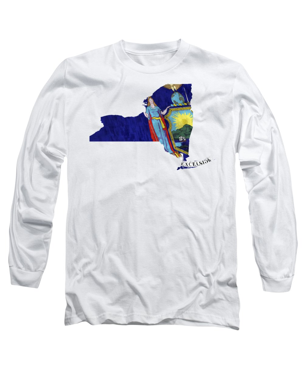 America Long Sleeve T-Shirt featuring the digital art New York Map Art With Flag Design by World Art Prints And Designs