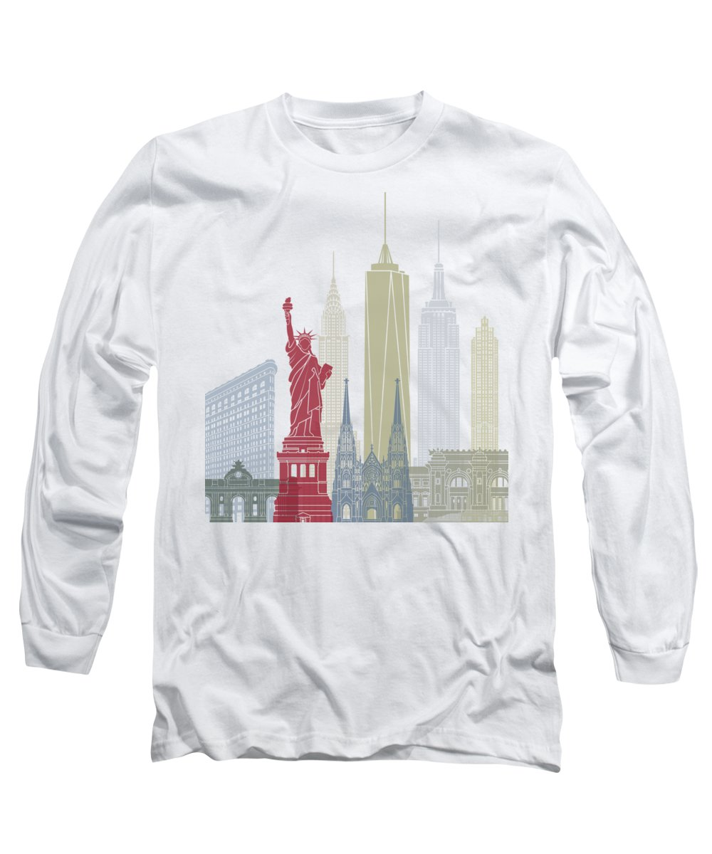 United States Long Sleeve T-Shirt featuring the painting New York Skyline Poster by Pablo Romero