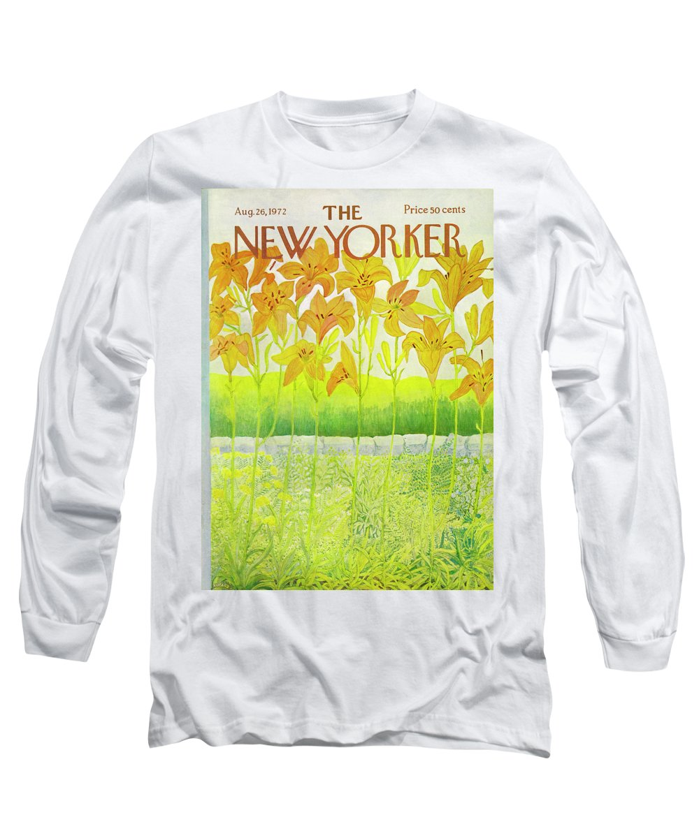 Flowers Long Sleeve T-Shirt featuring the drawing New Yorker Cover August 26 1972 by Ilonka Karasz