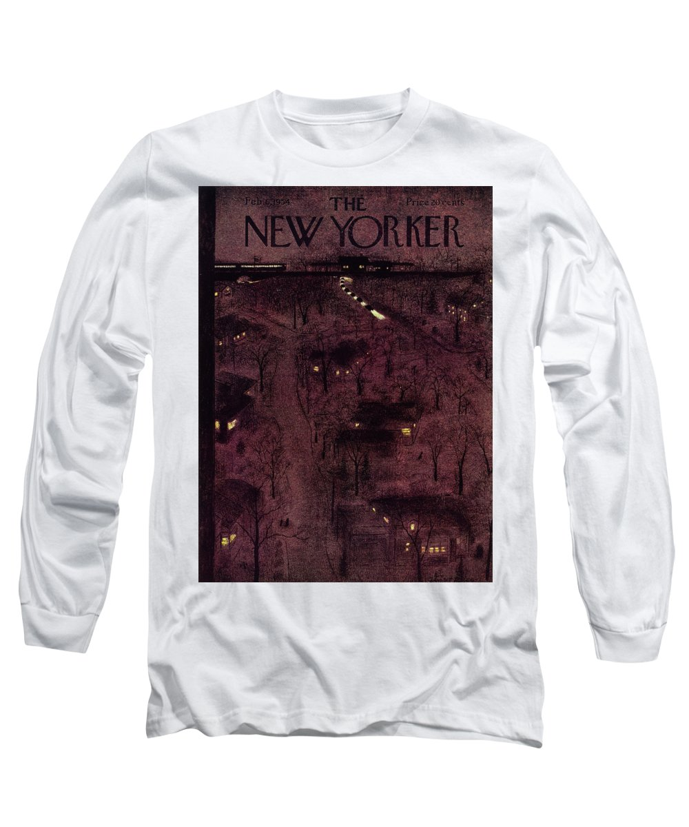 Overhead Long Sleeve T-Shirt featuring the painting New Yorker February 6 1954 by Garrett Price