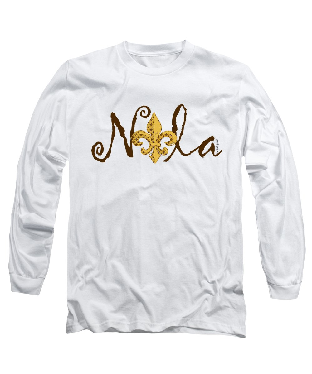 New+orleans Long Sleeve T-Shirt featuring the mixed media Nola In Brown by NolaOriginals