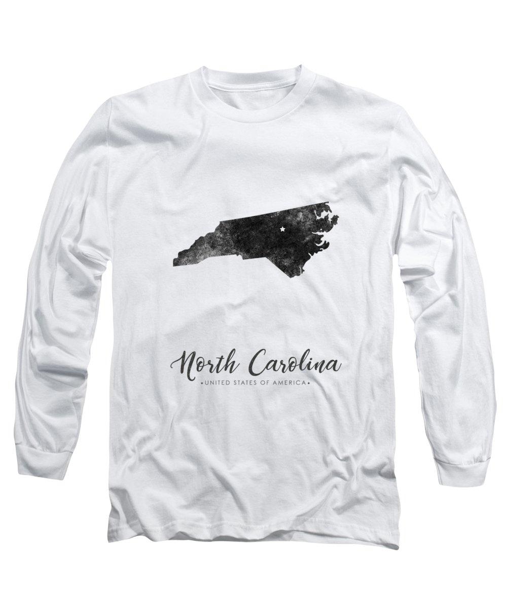 North Carolina Long Sleeve T-Shirt featuring the mixed media North Carolina State Map Art - Grunge Silhouette by Studio Grafiikka