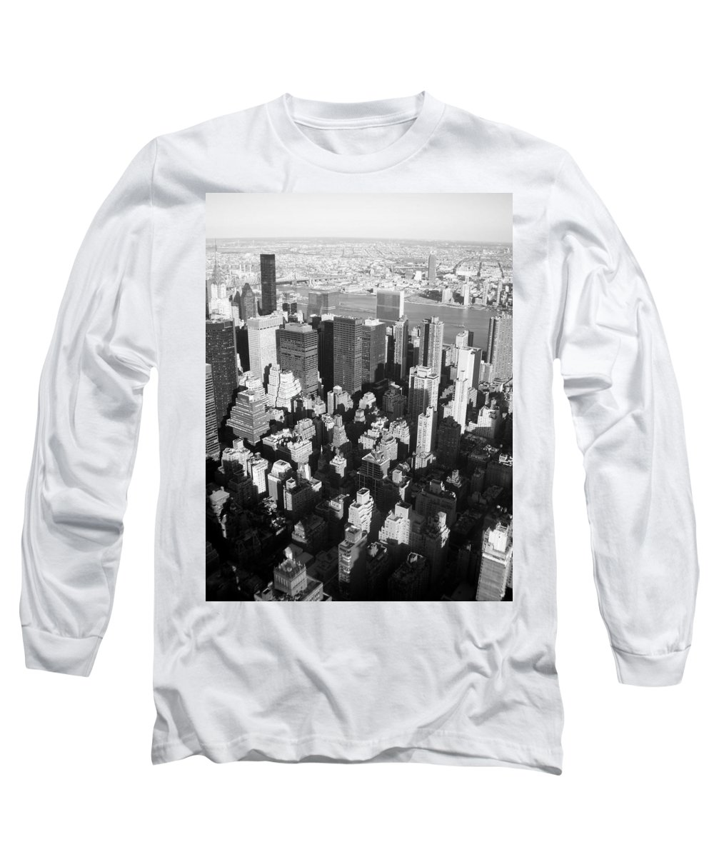Nyc Long Sleeve T-Shirt featuring the photograph Nyc Bw by Anita Burgermeister