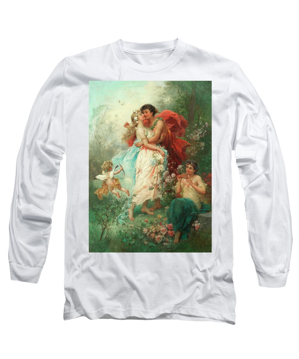 Oath Of Love Long Sleeve T-Shirt featuring the painting Oath Of Love by Hans Zatzka