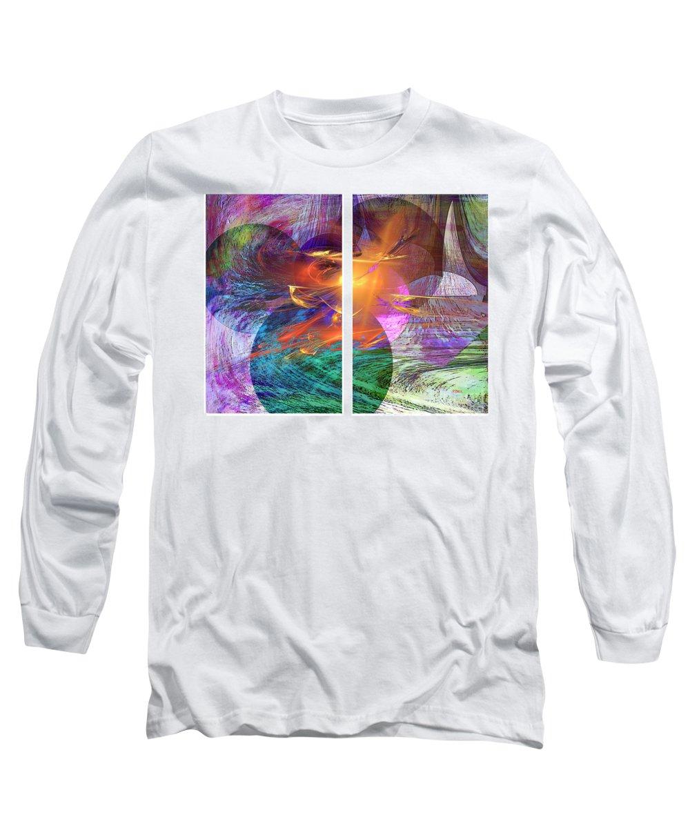 Ocean Fire Long Sleeve T-Shirt featuring the digital art Ocean Fire by John Beck