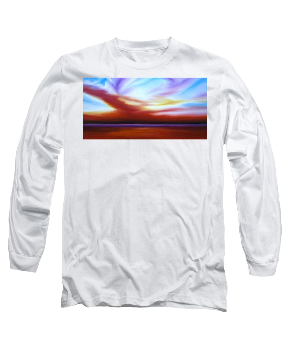 Skyscape Long Sleeve T-Shirt featuring the painting October Sky IIi by James Christopher Hill