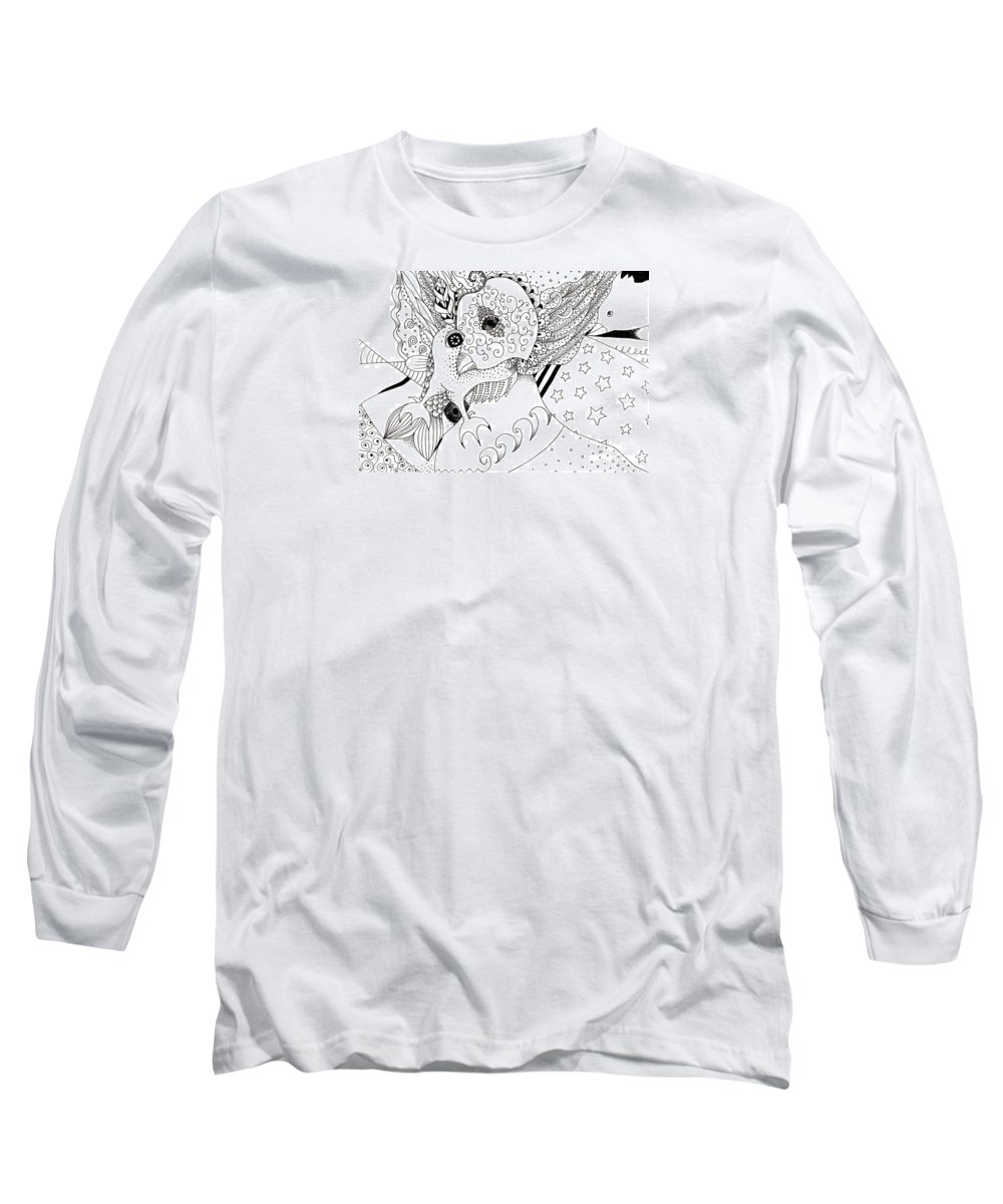 Drawing Long Sleeve T-Shirt featuring the drawing Odd 1 by Helena Tiainen