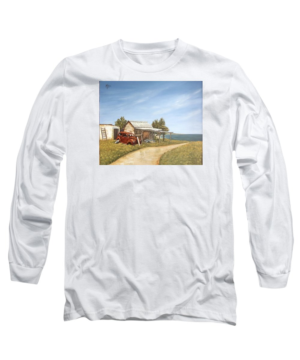 Old House Sea Seascape Landscape Long Sleeve T-Shirt featuring the painting Old House By The Sea by Natalia Tejera