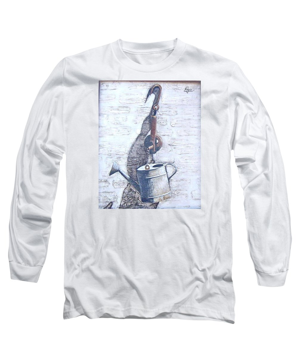 Old Metal Still Life Long Sleeve T-Shirt featuring the painting Old Metal by Natalia Tejera