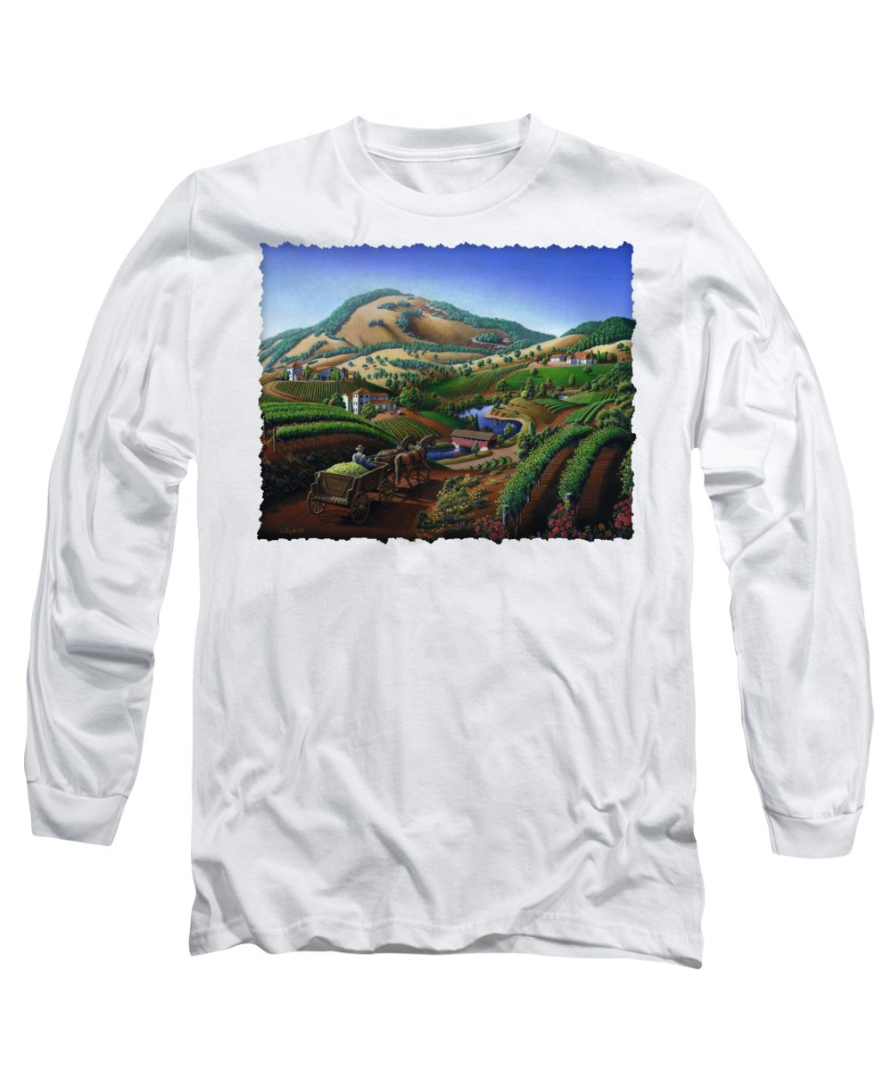 Old Long Sleeve T-Shirt featuring the painting Old Wine Country Landscape - Delivering Grapes To Winery - Vintage Americana by Walt Curlee