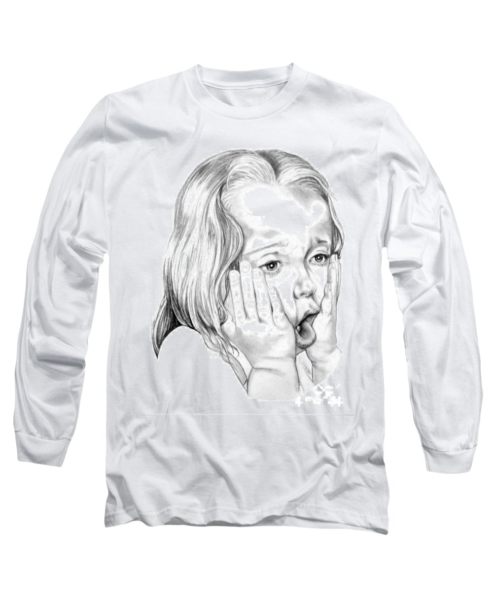 Portrait Long Sleeve T-Shirt featuring the drawing OMG by Murphy Elliott