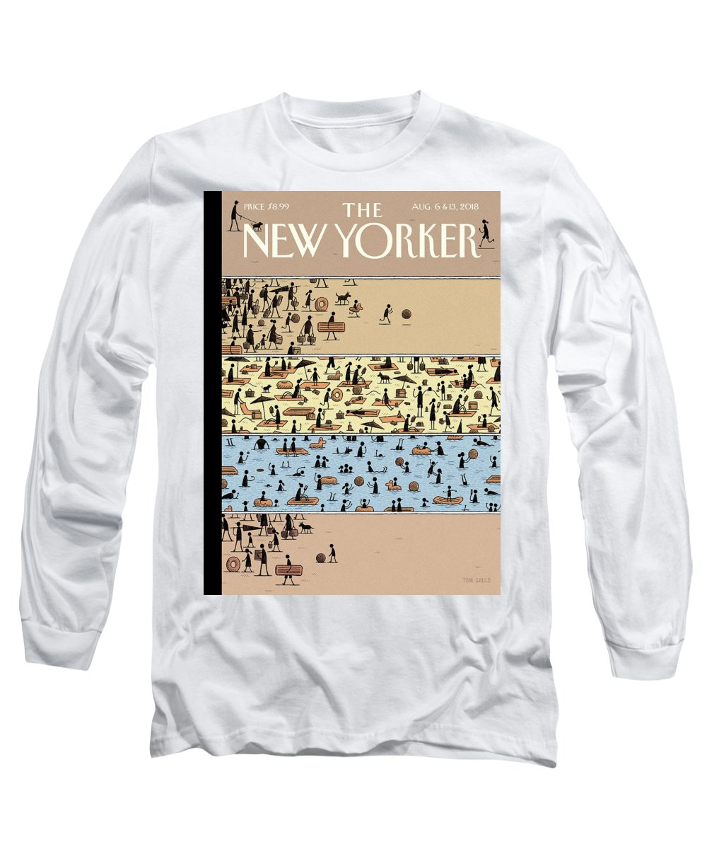 On The Beach Long Sleeve T-Shirt featuring the drawing On The Beach by Tom Gauld
