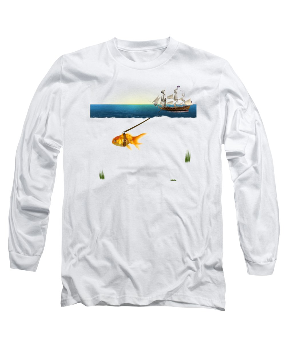 Gold Fish Long Sleeve T-Shirt featuring the painting On The Way by Mark Ashkenazi