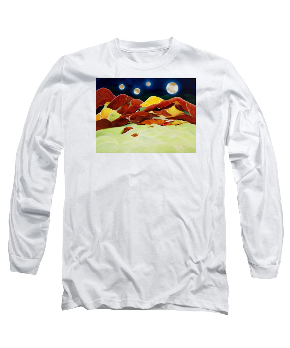 Oil Long Sleeve T-Shirt featuring the painting One Step Up From Third by Peggy Guichu