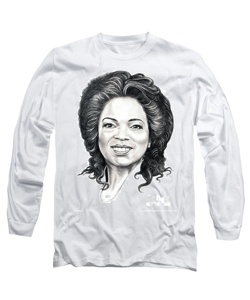 Oprah Long Sleeve T-Shirt featuring the drawing Oprah Winfrey by Murphy Elliott