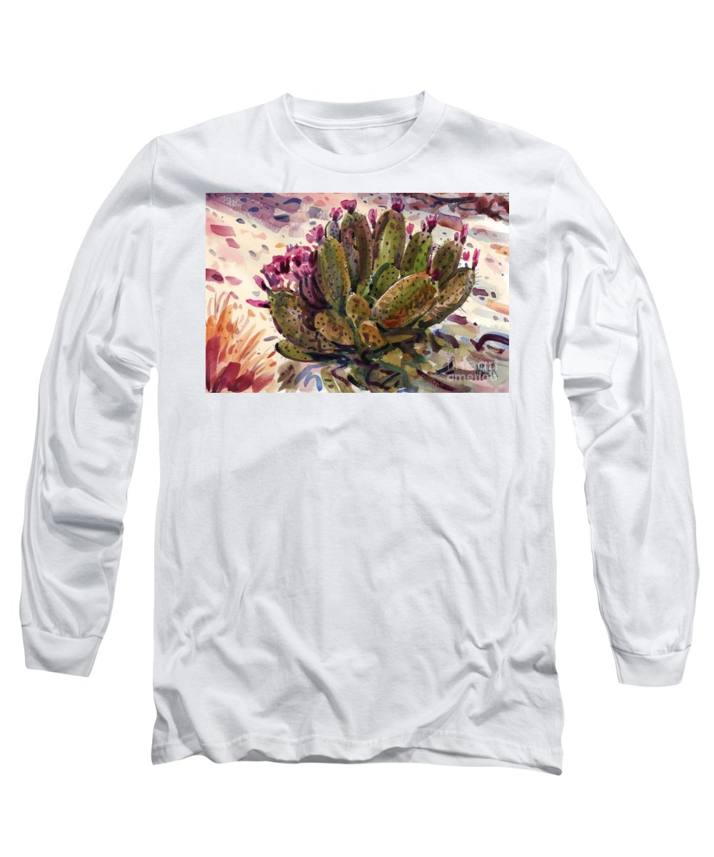 Opuntia Cactus Long Sleeve T-Shirt featuring the painting Opuntia Cactus by Donald Maier