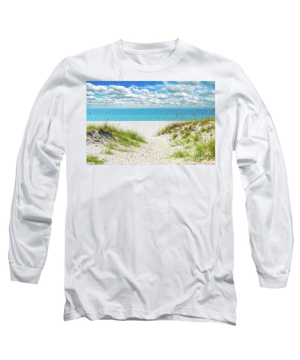 Al Long Sleeve T-Shirt featuring the photograph Orange Beach Al Seascape 1086a by Ricardos Creations