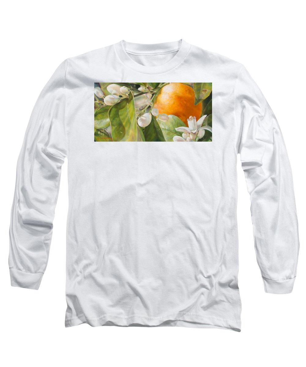 Floral Painting Long Sleeve T-Shirt featuring the painting Orange Fleurie by Dolemieux