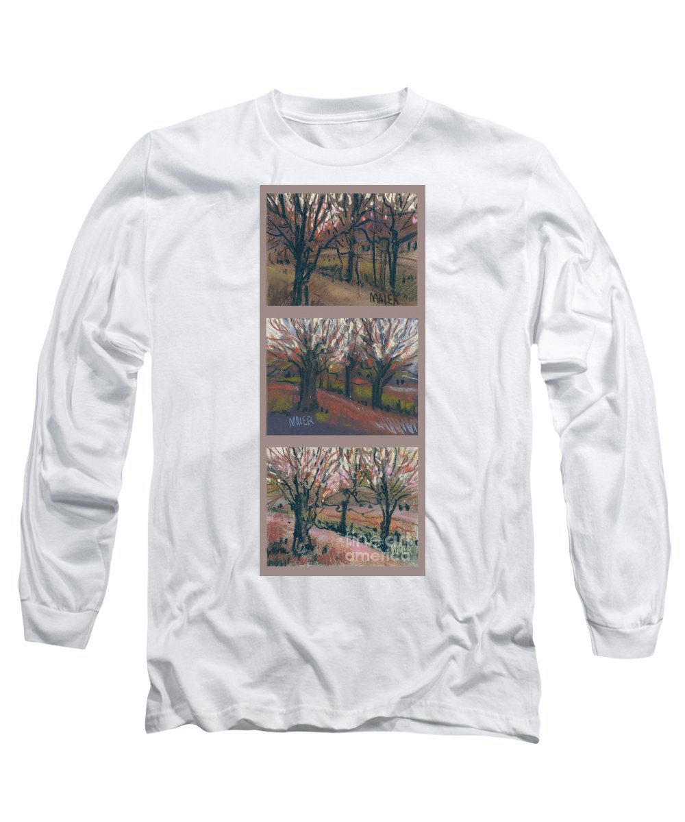 Pastel Long Sleeve T-Shirt featuring the drawing Orchard Sunset by Donald Maier