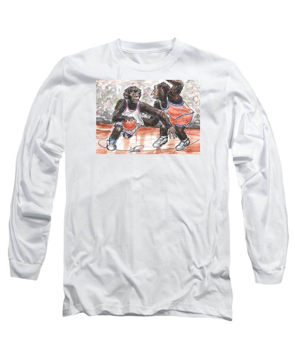 Basketball Long Sleeve T-Shirt featuring the painting Out Of My Way by George I Perez