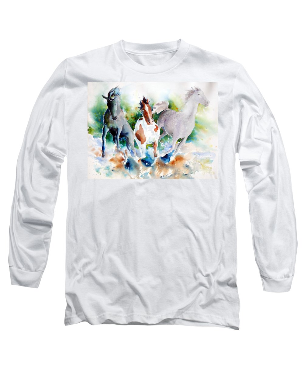 Horses Long Sleeve T-Shirt featuring the painting Out Of Nowhere by Christie Michelsen