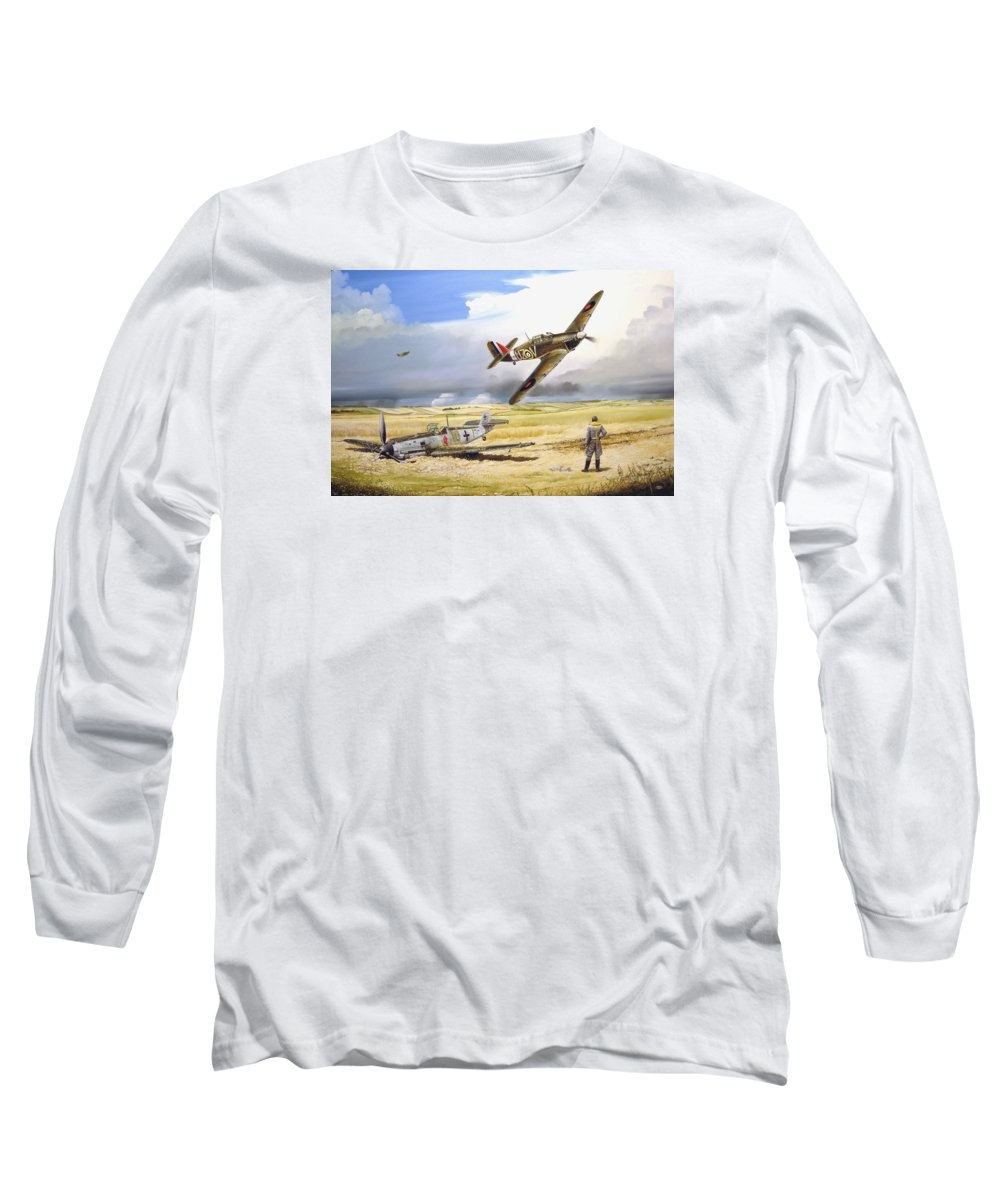 Painting Long Sleeve T-Shirt featuring the painting Outgunned by Marc Stewart