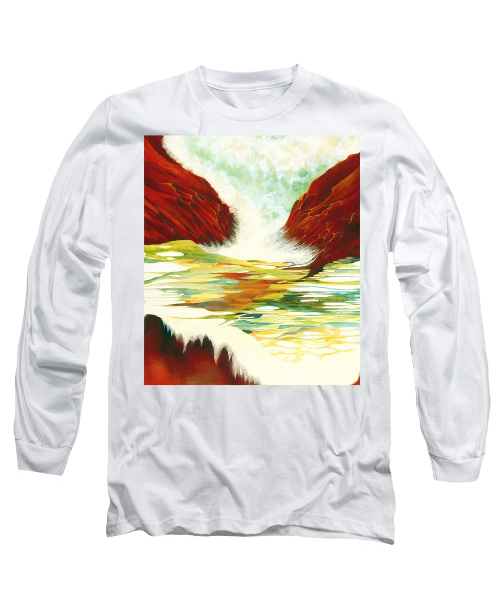 Oil Long Sleeve T-Shirt featuring the painting Overflowing by Peggy Guichu