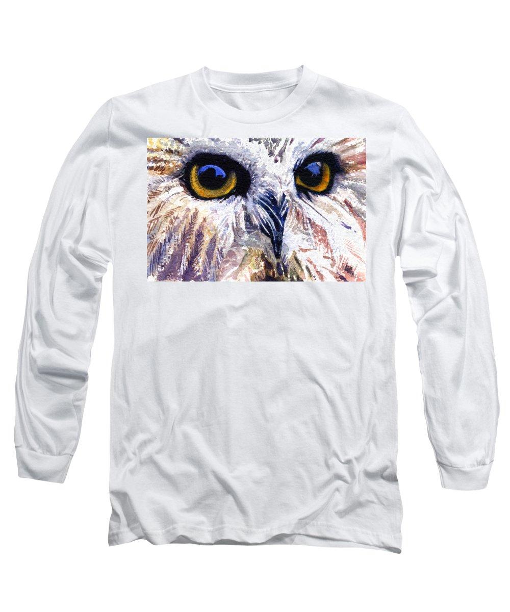 Eye Long Sleeve T-Shirt featuring the painting Owl by John D Benson