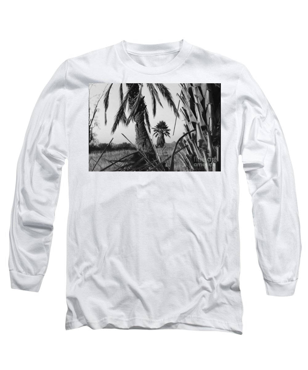 Black And White Photograpy Long Sleeve T-Shirt featuring the photograph Palm In View Bw Horizontal by Heather Kirk