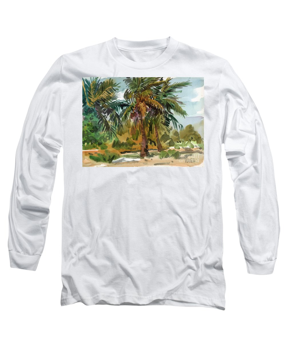 Palm Tree Long Sleeve T-Shirt featuring the painting Palms In Key West by Donald Maier