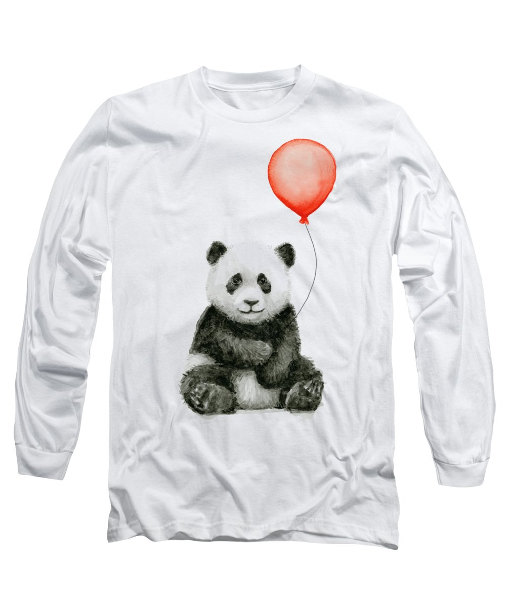 Baby Panda Long Sleeve T-Shirt featuring the painting Panda Baby And Red Balloon Nursery Animals Decor by Olga Shvartsur