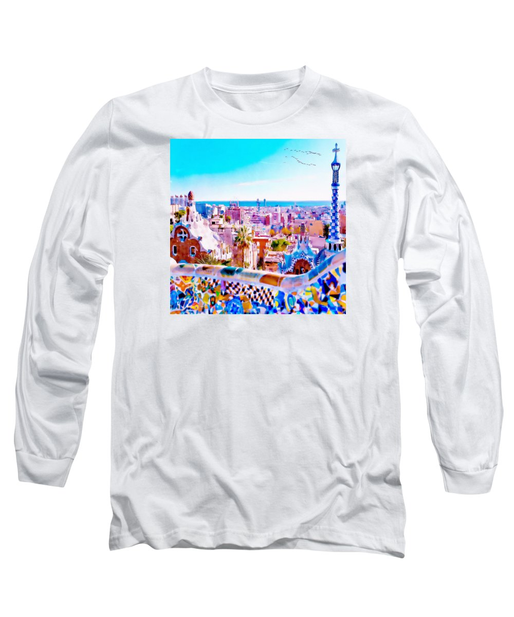 Park Guell Long Sleeve T-Shirt featuring the painting Park Guell Watercolor Painting by Marian Voicu