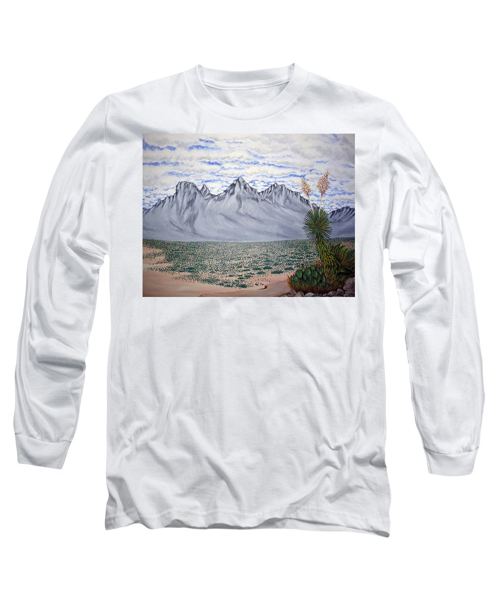 Desertscape Long Sleeve T-Shirt featuring the painting Pass Of The North by Marco Morales