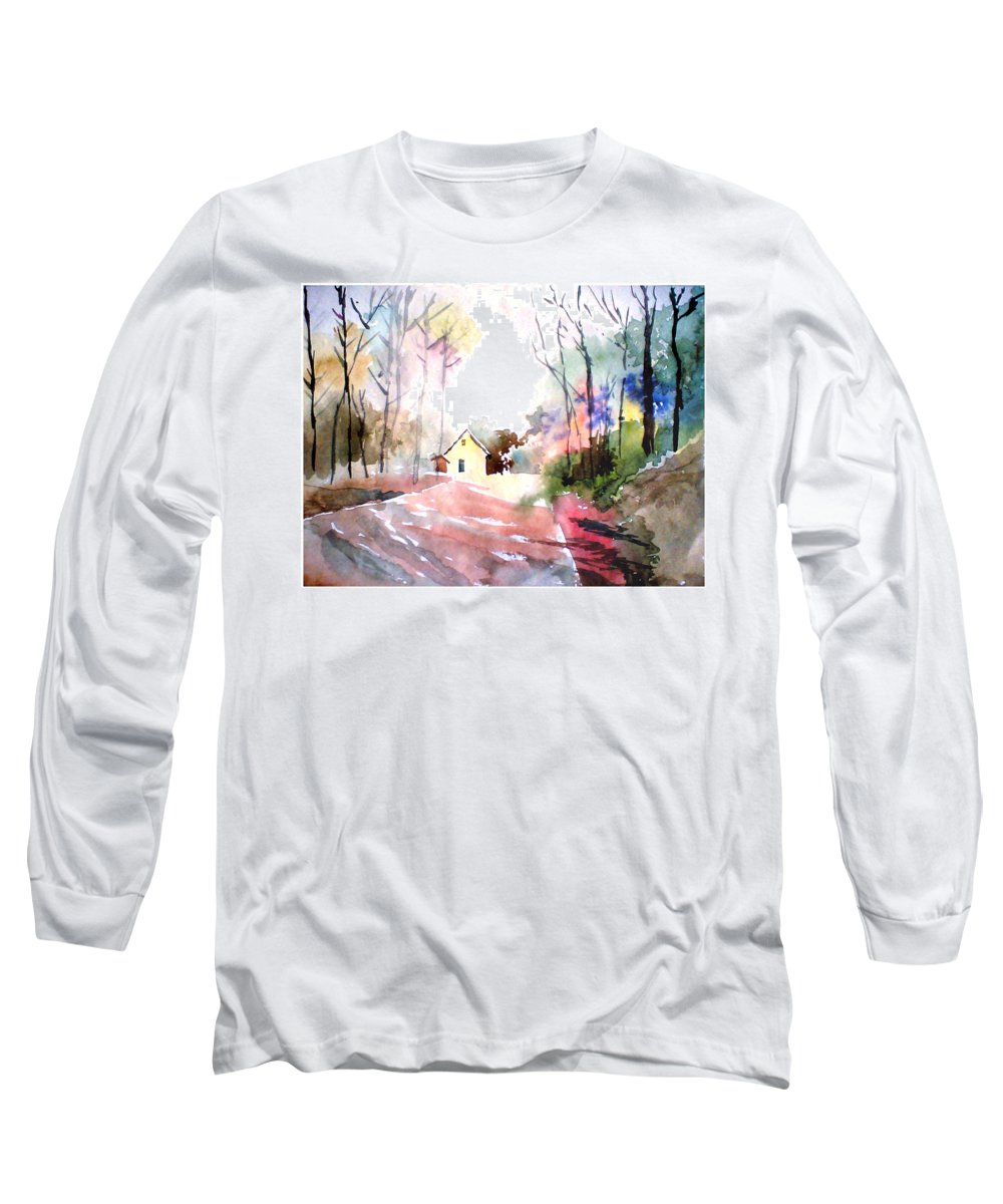 Nature Long Sleeve T-Shirt featuring the painting Path In Colors by Anil Nene