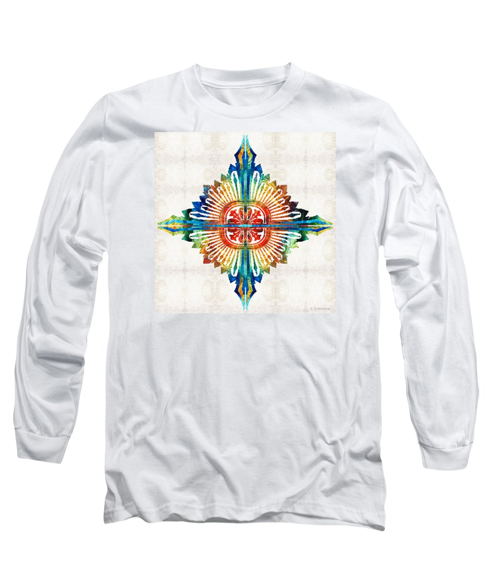 Mandala Long Sleeve T-Shirt featuring the painting Pattern Art - Color Fusion Design 1 By Sharon Cummings by Sharon Cummings