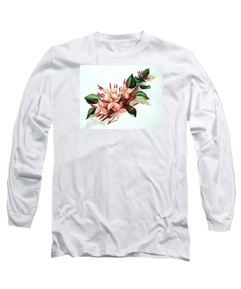 Floral Peach Flower Watercolor Ixora Botanical Bloom Long Sleeve T-Shirt featuring the painting Peachy Ixora by Karin Dawn Kelshall- Best