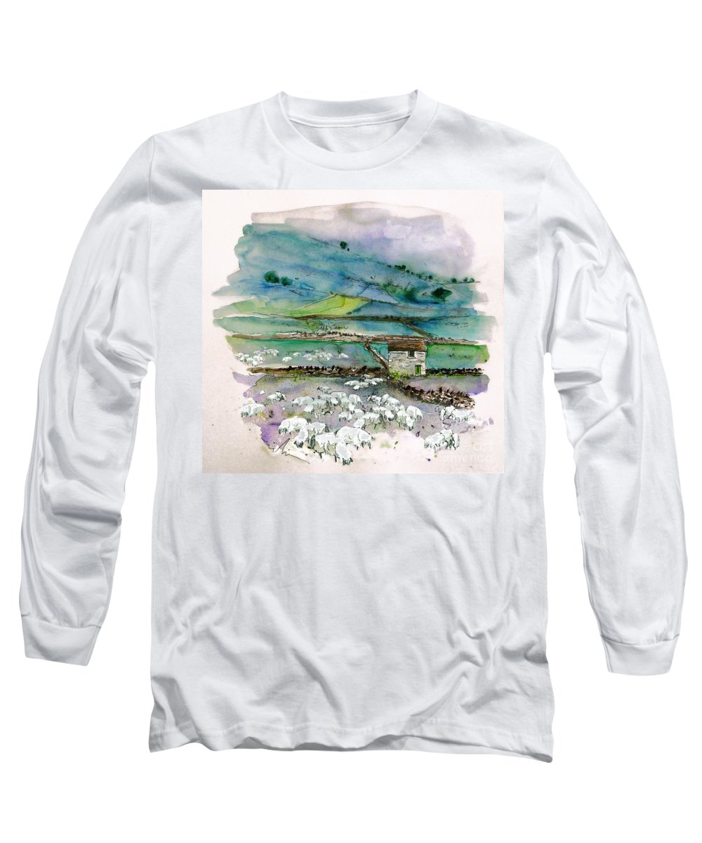 Paintings England Watercolour Travel Sketches Ink Drawings Art Landscape Paintings Town Long Sleeve T-Shirt featuring the painting Peak District Uk Travel Sketch by Miki De Goodaboom