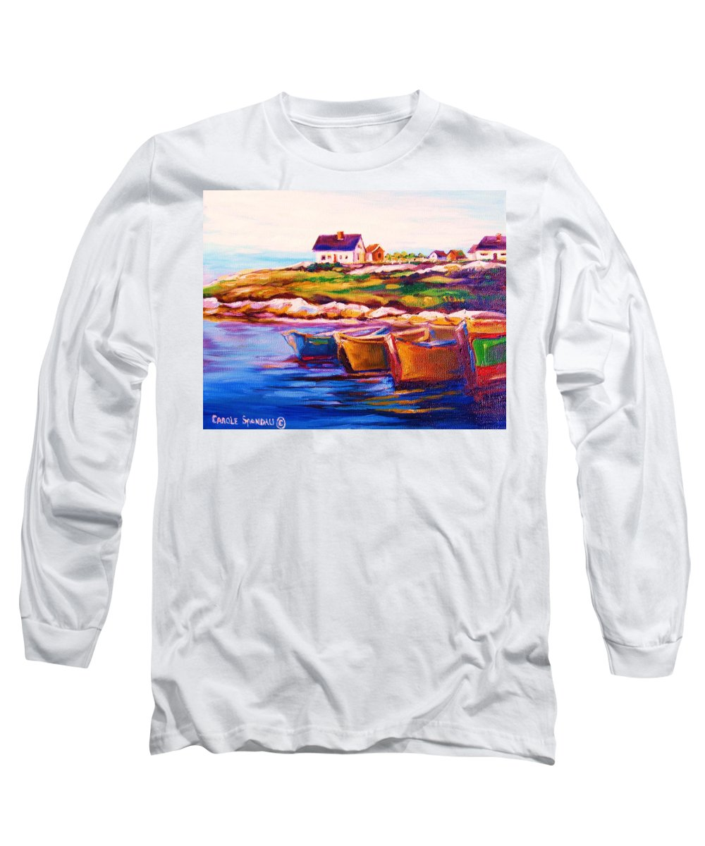 Row Boats Long Sleeve T-Shirt featuring the painting Peggys Cove Four Row Boats by Carole Spandau