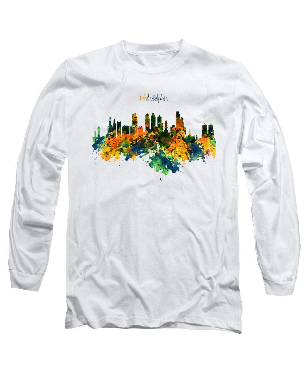 Philadelphia Long Sleeve T-Shirt featuring the painting Philadelphia Watercolor Skyline by Marian Voicu