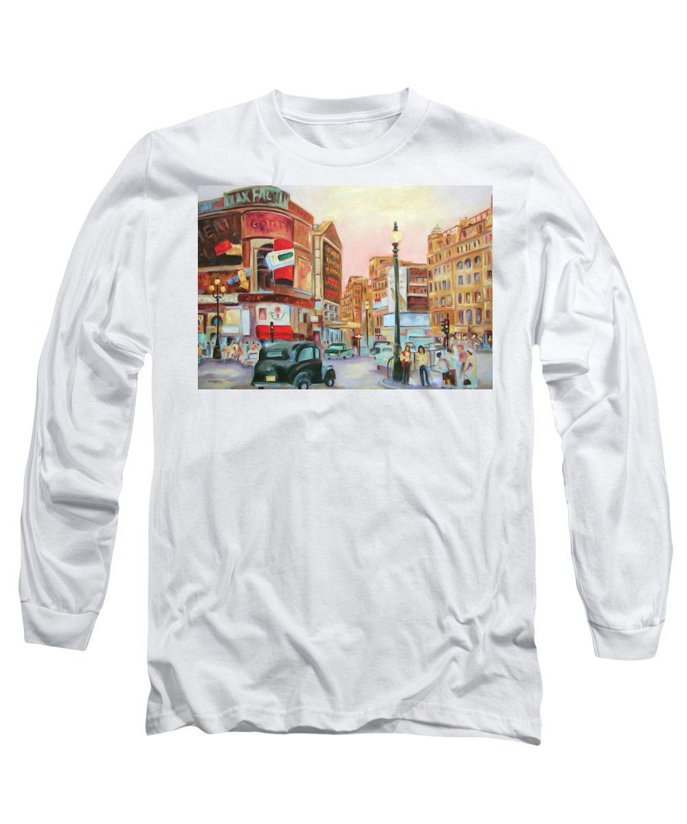 Cityscape Long Sleeve T-Shirt featuring the painting Picadilly by Ginger Concepcion