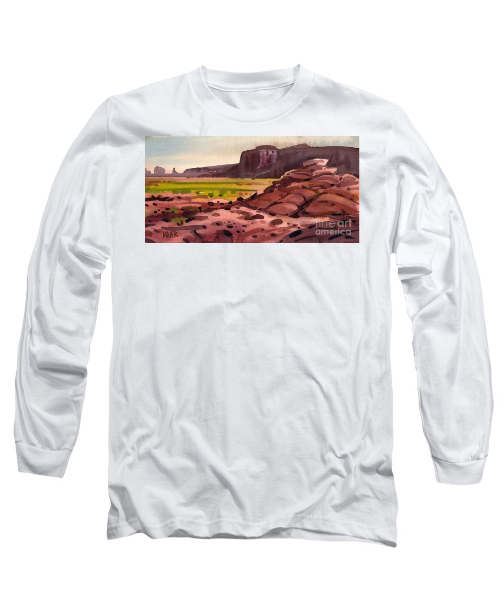 Monument Valley Long Sleeve T-Shirt featuring the painting Pillow Rocks by Donald Maier