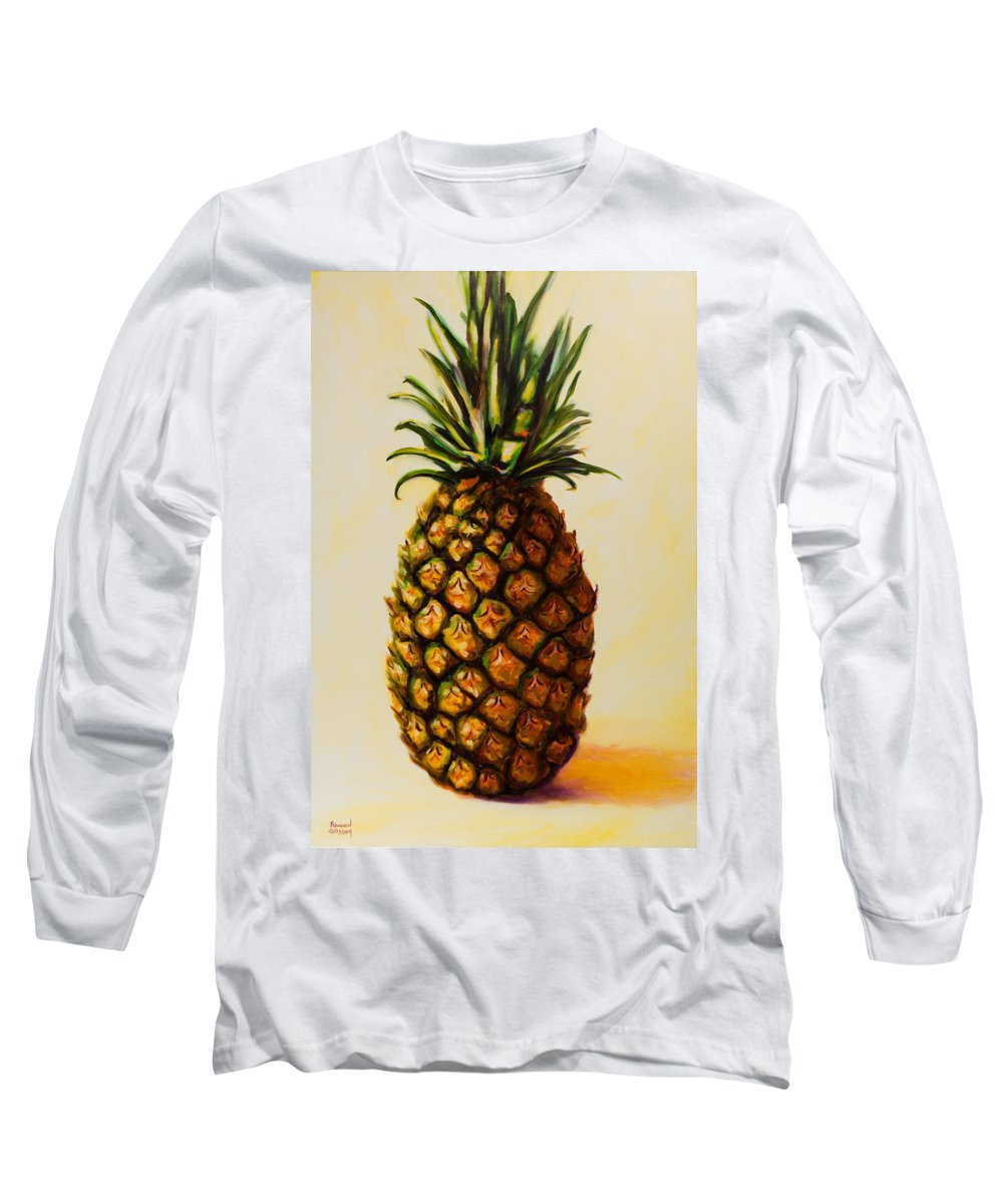 Pineapple Long Sleeve T-Shirt featuring the painting Pineapple Angel by Shannon Grissom