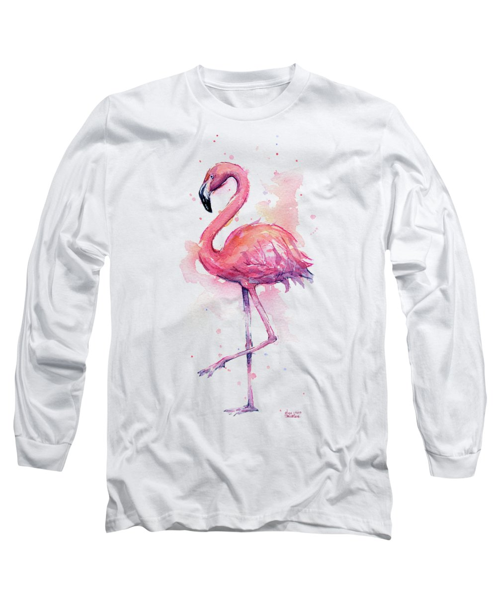 Flamingo Long Sleeve T-Shirt featuring the painting Pink Flamingo Watercolor Tropical Bird by Olga Shvartsur