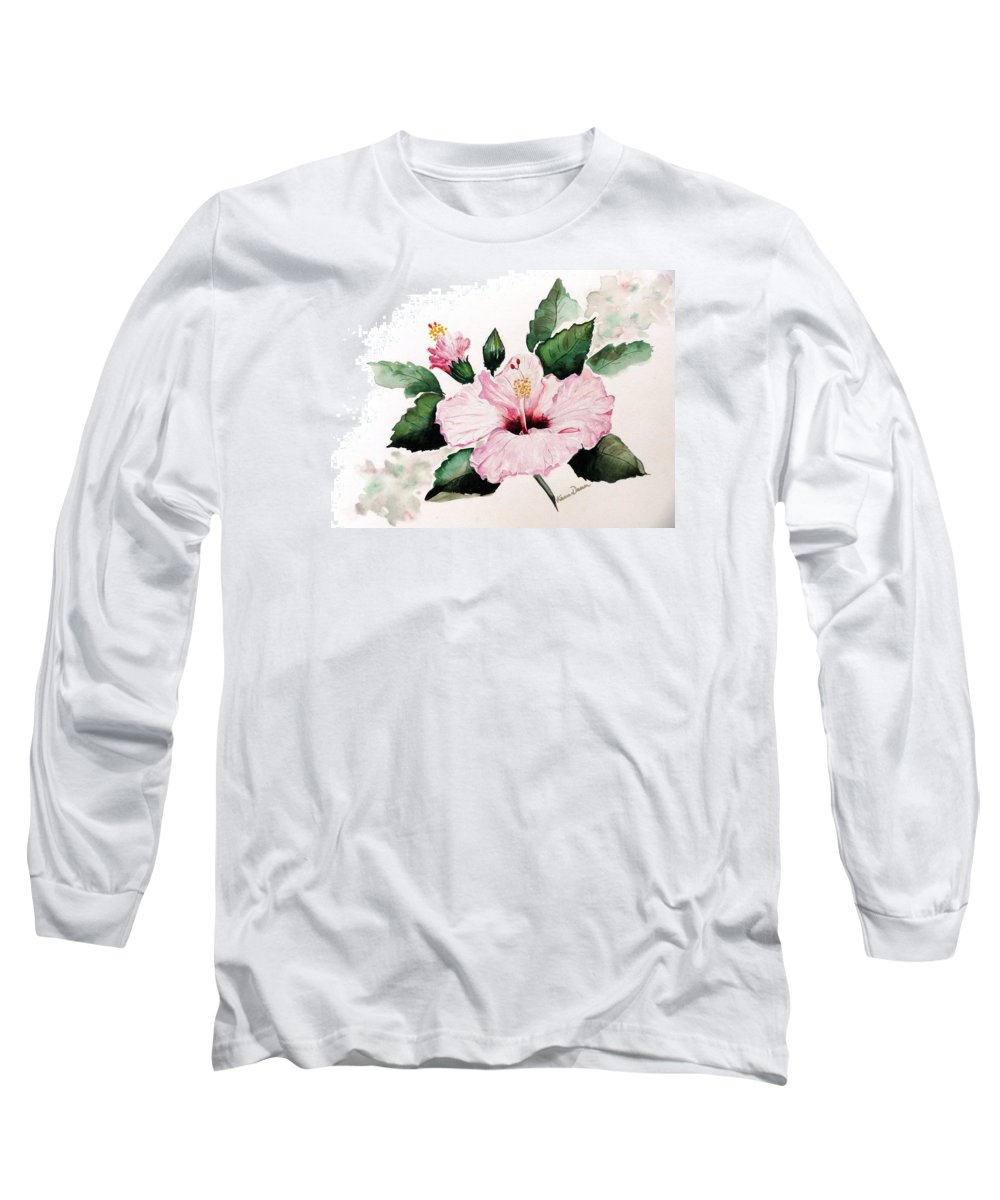 Hibiscus Painting  Floral Painting Flower Pink Hibiscus Tropical Bloom Caribbean Painting Long Sleeve T-Shirt featuring the painting Pink Hibiscus by Karin Dawn Kelshall- Best
