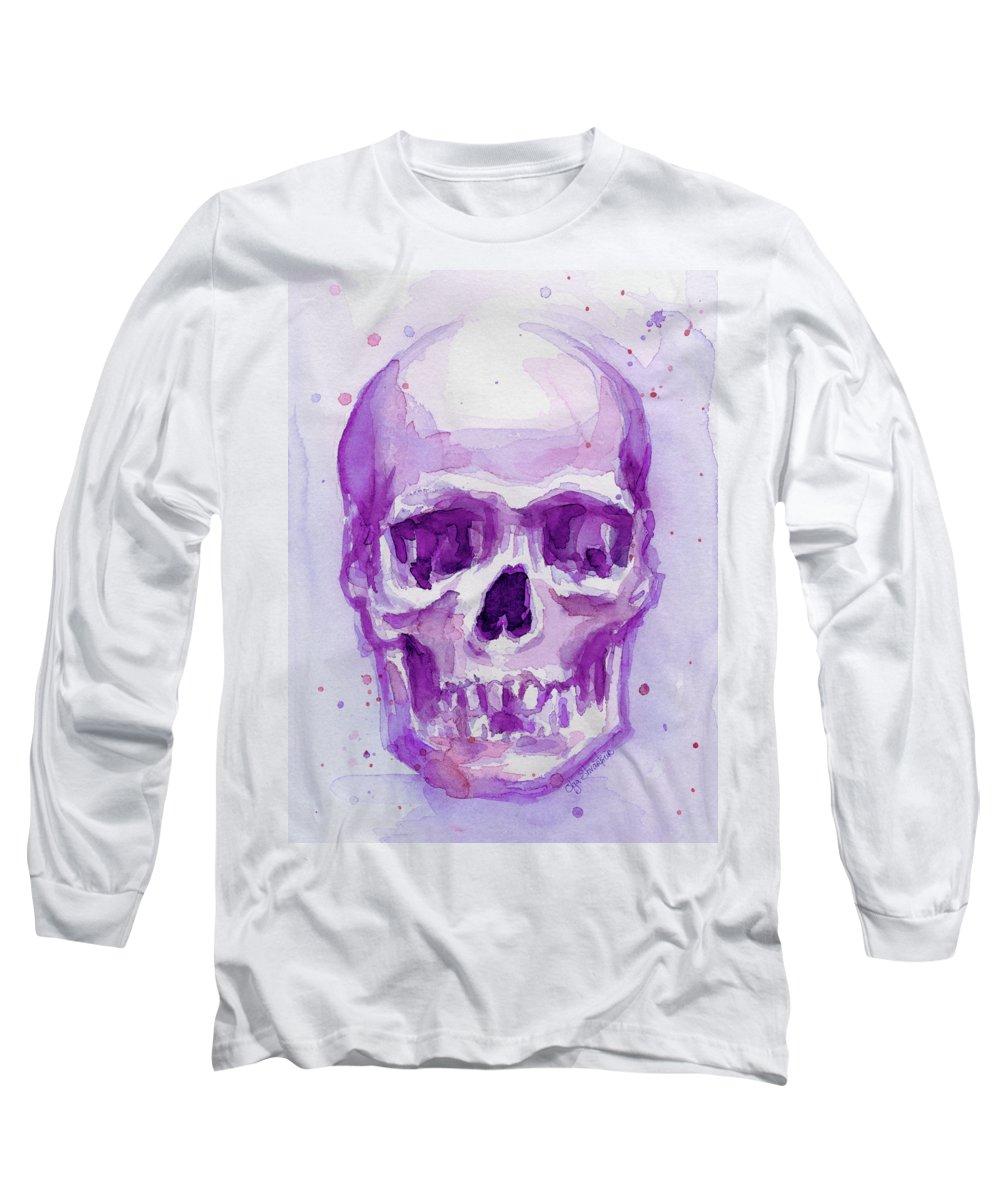 Purple Long Sleeve T-Shirt featuring the painting Pink Purple Skull by Olga Shvartsur