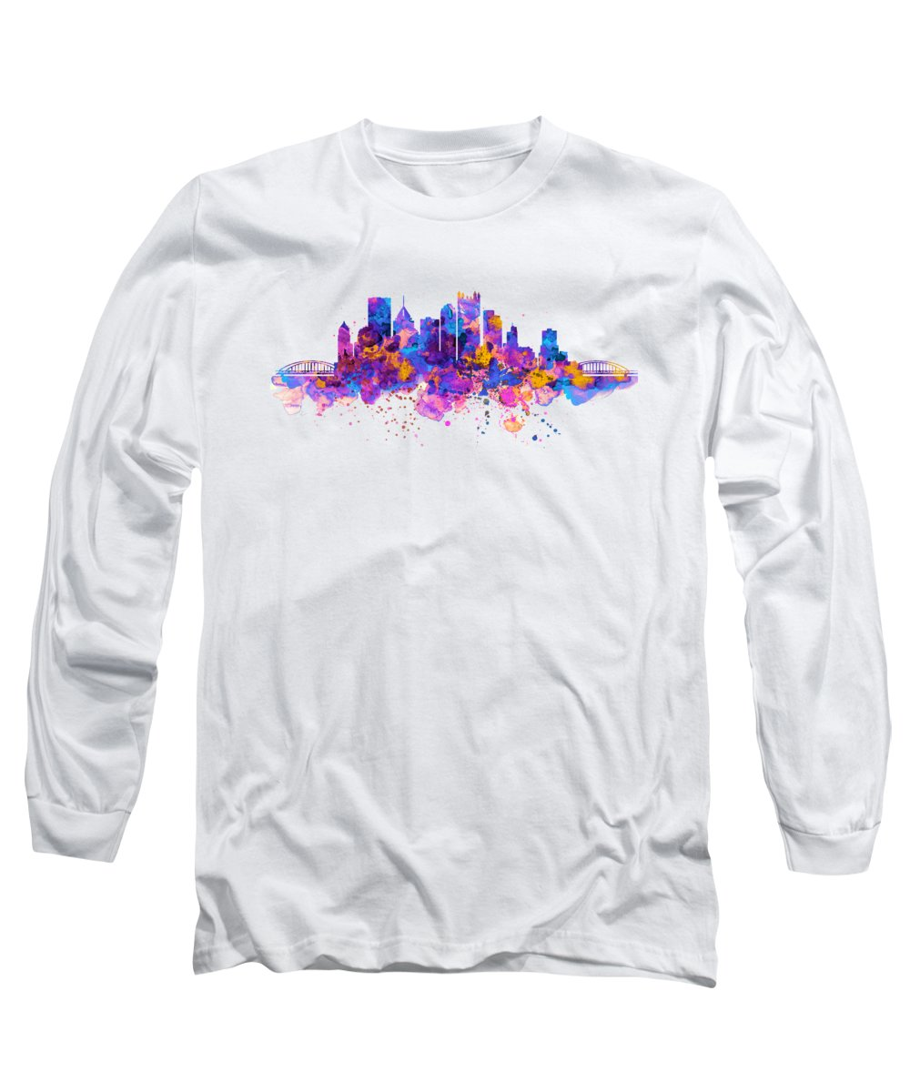 Pittsburgh Long Sleeve T-Shirt featuring the painting Pittsburgh Skyline by Marian Voicu